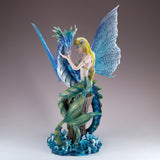 Green Mermaid With Sea Dragon Serpent Figurine 2