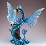 Green Mermaid With Sea Dragon Serpent Figurine 4