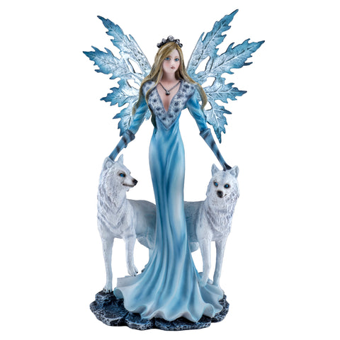Blue Fairy With White Wolves Figurine Statue 1