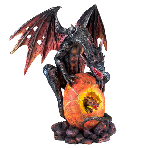 Black and Red Dragon Guarding Baby Figurine 1