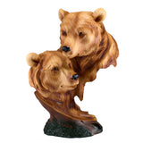 Bear Heads Bust Faux Carved Wood Look Figurine 1