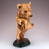Bear Heads Bust Faux Carved Wood Look Figurine 2