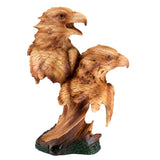 Eagle Heads Bust Faux Carved Wood Look Figurine 1