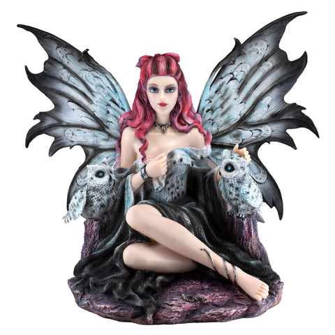 Gothic Black Fairy With Snowy Owls Figurine 1