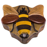 Wood Intarsia Bee Bumblebee Puzzle Trinket Box 1