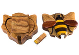 Wood Intarsia Bee Bumblebee Puzzle Trinket Box 3