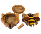 Wood Intarsia Bee Bumblebee Puzzle Trinket Box 4