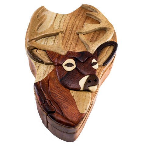 Wood Intarsia Deer Buck Puzzle Trinket Box 1