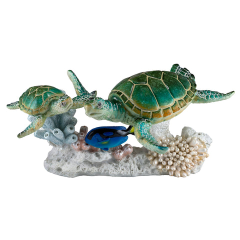 Sea Turtles Blue Tang Fish Swimming On Coral Figurine 1