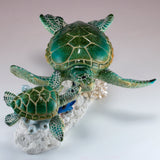 Sea Turtles Blue Tang Fish Swimming On Coral Figurine 2