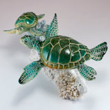 Sea Turtles Blue Tang Fish Swimming On Coral Figurine  4