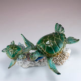 Sea Turtles Blue Tang Fish Swimming On Coral Figurine 5
