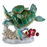 Green Sea Turtles Clown Fish Swimming On Coral Figurine 1