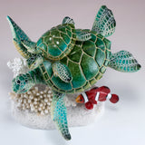 Green Sea Turtles With Clown Fish Swimming On Coral Figurine 2