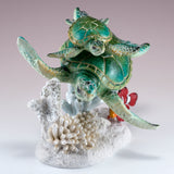 Green Sea Turtles With Clown Fish Swimming On Coral Figurine 3