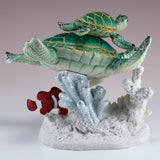 Green Sea Turtles With Clown Fish Swimming On Coral Figurine 4