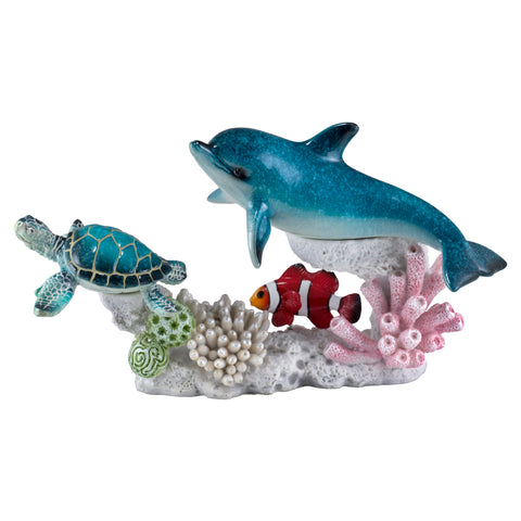 Dolphin With Sea Turtle & Clown Fish On Coral Figurine 1