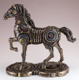 Steampunk Gaited Horse Depicting Gears and Metal Figurine Cold Cast Bronze