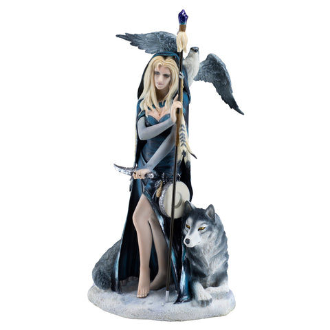Shaman Sorceress With Wolf and Falcon Figurine 1