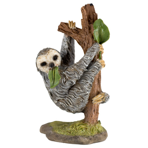 Mini Sloth Hanging In Tree Figurine 1