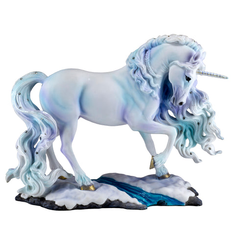 Pearlescent Unicorn In Snow Figurine 1