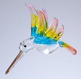Hand Blown Glass Hanging Hummingbird Ornament Bird Figurine 4