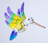 Hand Blown Glass Hanging Hummingbird Ornament Bird Figurine E2