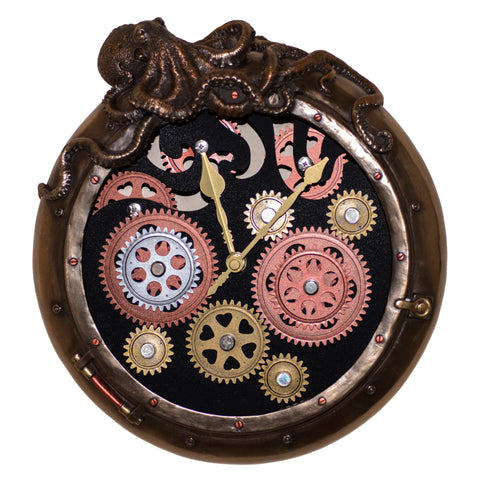 Steampunk Octopus Porthole Wall Clock With Moving Gears