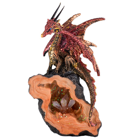 Red Dragon With LED Crystals In Geode Rock Figurine