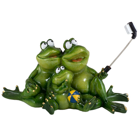 Frog Family Taking Selfie Picture With Phone Figurine