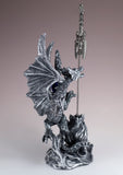 Silver Dragon Figurine Statue With Sword 3