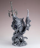 Silver Dragon Figurine Statue With Sword 4