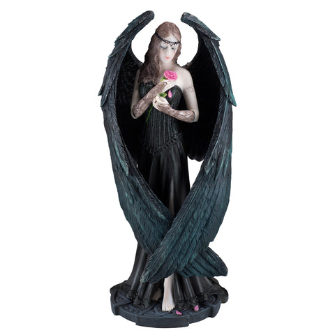 Gothic Black Angel Fairy With Rose Figurine 1