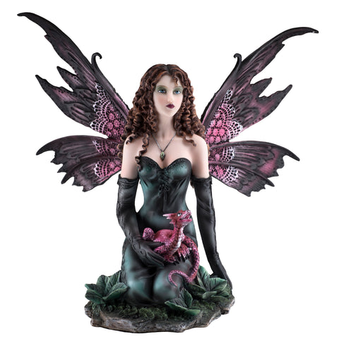Black Fairy With Red Dragon Figurine Statue 1