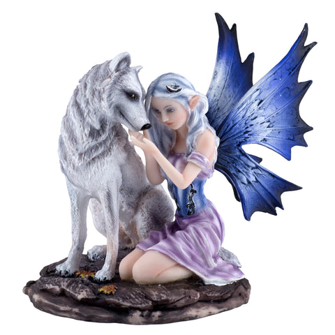 Purple Fairy With White Wolf Figurine Statue