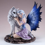 Purple Fairy With White Wolf Figurine Statue 2