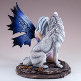 Purple Fairy With White Wolf Figurine Statue 3