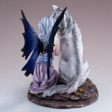 Purple Fairy With White Wolf Figurine Statue 4