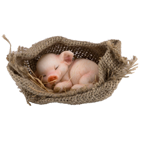Pink Pig Sleeping In Burlap Sack Figurine 1