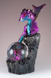 Dragon Figurine Blue and Purple On Rock With Snow Globe