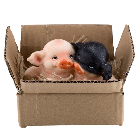 Black and Pink Pigs In Box With Burlap 1
