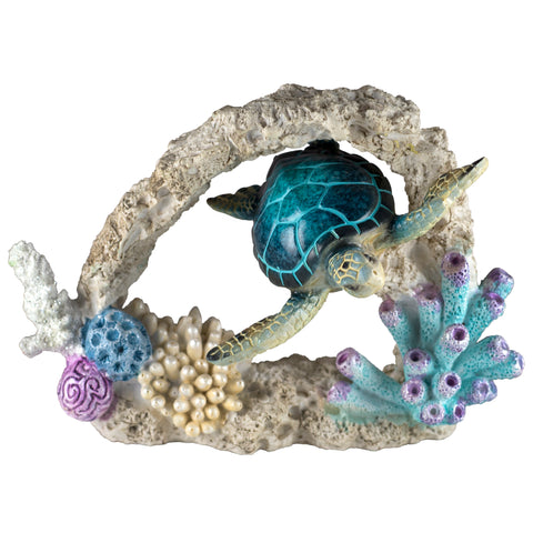 Sea Turtle Swimming Through Coral Figurine HBH1