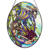 Mermaid With Seahorses Suncatcher Hand Painted Glass By AMIA 1