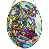 Mermaid With Seahorses Suncatcher Hand Painted Glass By AMIA 2