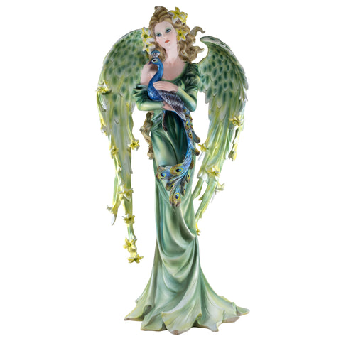 Green Angel Fairy With Peacock Figurine Statue 1