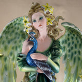 Green Angel Fairy With Peacock Figurine Statue 2