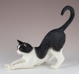 Black and White Cat Stretching Figurine 2