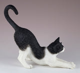 Black and White Cat Stretching Figurine 4