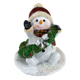 Snowman With Christmas Wreath Sparkly Figurine 1