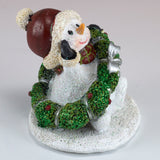 Snowman With Christmas Wreath Sparkly Figurine 2
